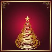 A Golden Holiday Tree in a Frame Over a Maroon Background — Stockfoto