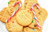 Peanutbutter Christmas Cookies with Two Candy Canes — Stockfoto