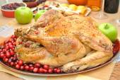 Cooked Whole Turkey with Cranberries — Stock Photo