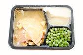 A Frozen Turkey TV Dinner Over White — Stok fotoğraf