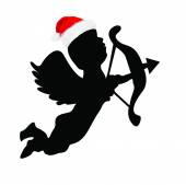 Picture of a Silhouette Cupid Wearing a Santa Hat — Stock Photo