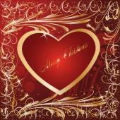 Maroon Gold Artistic Heart xmas — Stock Vector