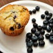 Muffin on a Plate with Blueberries — Stock Photo #59743755