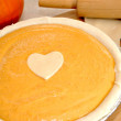 Uncooked Pumpkin Pie with a Heart — Stock Photo #59743953