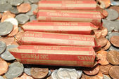 Rolled American Penny Coinage — Stock Photo