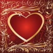 Maroon Gold Artistic Heart Valentine — Stock Vector