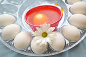 Dyeing Red Easter Eggs — Stock Photo