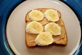 Open Faced Peanutbutter and Banana Sandwich — Stock Photo