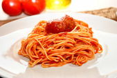Saucy Spaghetti with a Meatball On Top — Stock Photo