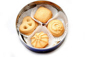 A Cookie Tin with Butter Cookies — Stock Photo