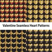 Valentine Seamless Heart Patterns — Stock Vector