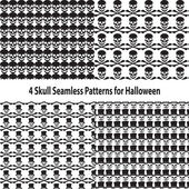 Four Skull Seamless Patterns for Halloween — Stockvektor