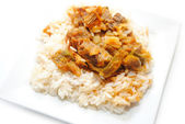 Beef and Pepper Stir Fry Over White Rice — Stock Photo