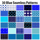 30 Blue Seamless Patterns — Stock Vector