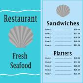 Teal Seafood Menu with a Scallop Shell — Stock Vector
