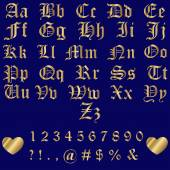Old English Gold Alphabet Letters and Numbers — Stock Vector