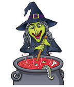 Witch Stirring Bubbling Cauldron — Stock Photo
