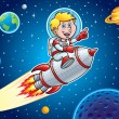 Kid Blasting Through Outer Space On A Rocket Ship — Stock Photo #53991473