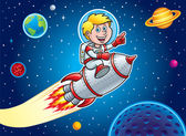 Kid Blasting Through Outer Space On A Rocket Ship — Stock Photo