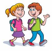 Boy and Girl Walking and Talking with Backpacks On — Stock Photo