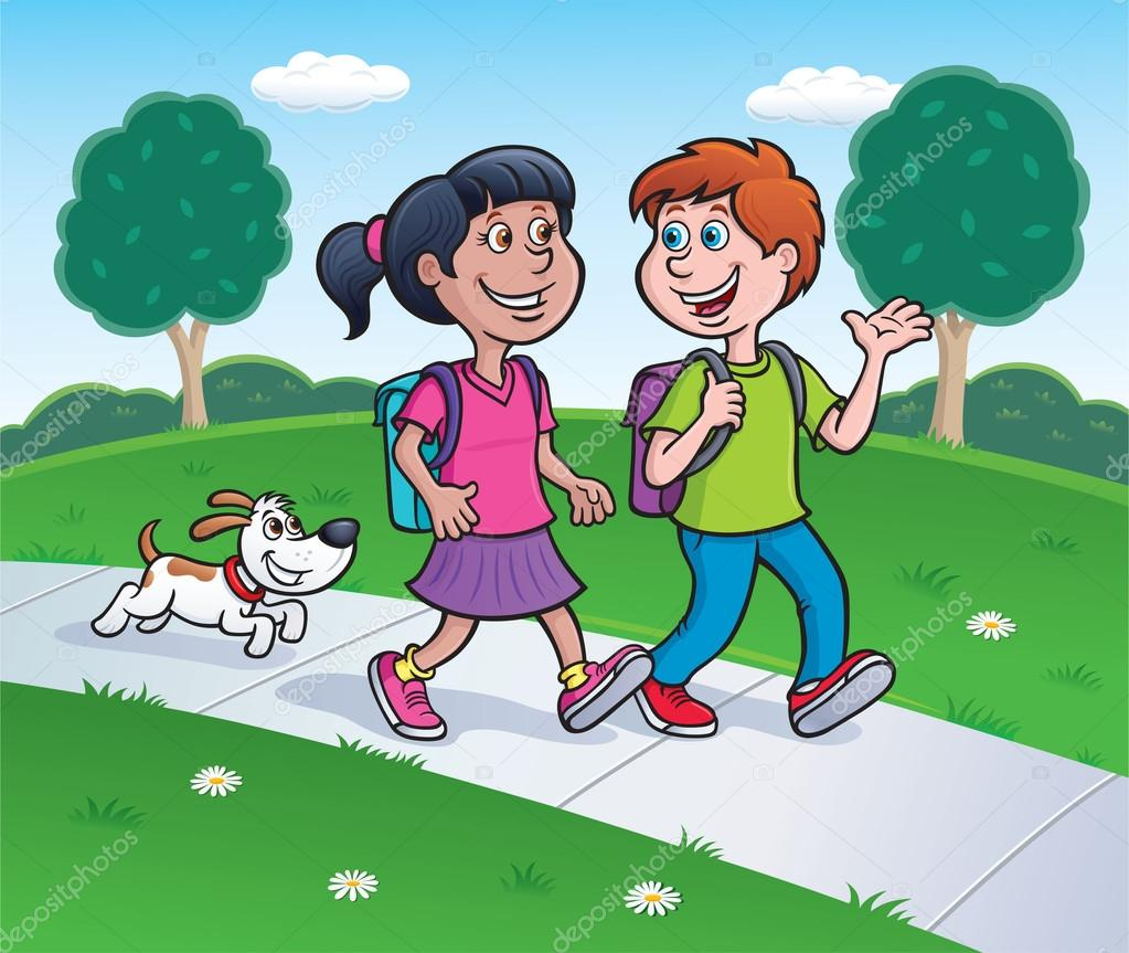 Dog Walking A Boy Cartoon