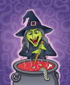 Wicked Witch Stirring Bubbling Cauldron — Stock fotografie