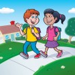 Two Kids Walking To School With Backpacks — Stock Photo #58514737