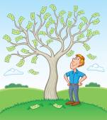 Man Standing Beside A Money Tree — Stock Photo