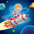 Rocket Kid Blasting Through Space — Stock Photo #62638301