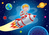 Rocket Kid Blasting Through Space — Stock Photo