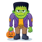 Frankenstein Monster Holding Pumpkin Pail — Stock Photo