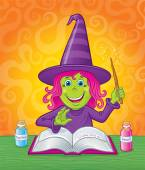 Cute Girl Witch Casting A Spell — Stock Photo