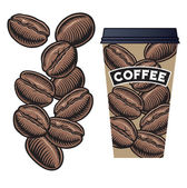 Coffee Beans and Coffee Cup with Lid — Stock Photo