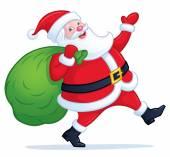 Santa Claus Walking with Bag of Presents — Stock Photo
