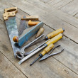 Set of vintage carpenter tools — Stock Photo #52492681