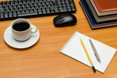 Keyboard, cup of coffee and office supplies  — Stock Photo