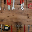 Set of tools on old table. — Stock Photo #64849273