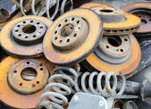 Useless, worn out and rusty brake discs  — Stock Photo