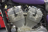 Twin cylinder motorcycle engine — Stock Photo