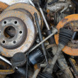 Useless, worn out rusty brake discs and other — Stock fotografie #82384506