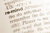 Dictionary definition of word remind  — Stock Photo
