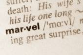 Dictionary definition of word marvel — Stock Photo