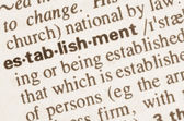 Dictionary definition of word establishment — Stock Photo