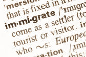 Dictionary definition of word immigrate — Stock Photo