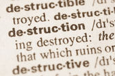Dictionary definition of word destruction — Stock Photo