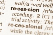 Dictionary definition of word recession — Stock Photo