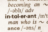 Dictionary definition of word intolerant — Stock Photo