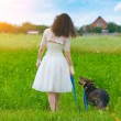 Bride walking with dog — Stock Photo #54521907