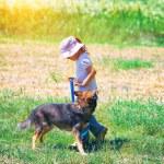 Girl walking with dog — Stock Photo #54521941