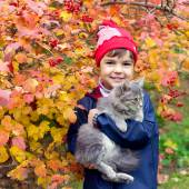 Girl hugging a cat — Stock Photo